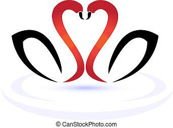 logotipo, amor, cisnes