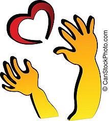 logotipo, amor, mãos