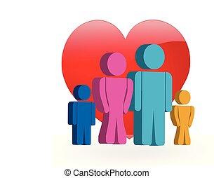 logotipo, amore, famiglia, 3d