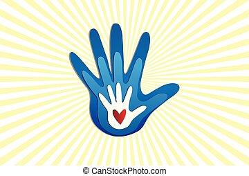 logotipo, amore, famiglia, mani