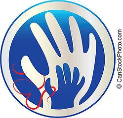 logotipo, amore, mani