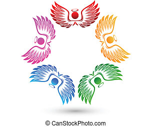 logotipo, angeli, intorno