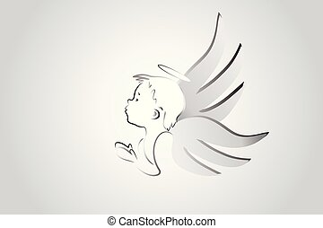 logotipo, anjinho, orando