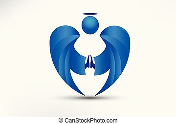logotipo, anjo rezando