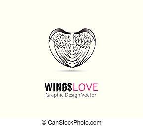 logotipo, anjo, vetorial, forma, asas, coração
