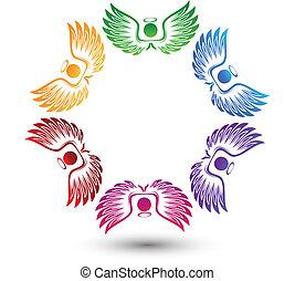 logotipo, anjos, ao redor