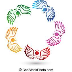 logotipo, anjos, equipe