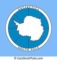 logotipo, antártica, continente