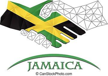 logotipo, aperto mão, feito, jamaica., bandeira