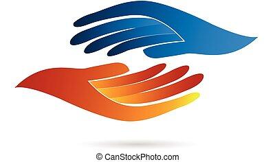logotipo, aperto mão, negócio