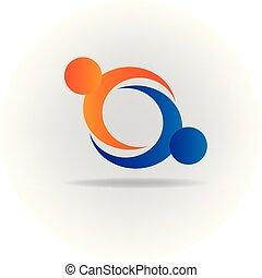 logotipo, aperto mão, pessoas, ícone
