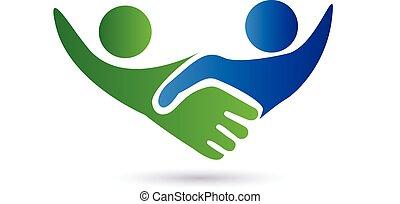 logotipo, aperto mão, pessoas negócio