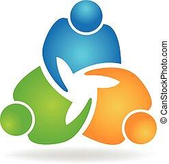 logotipo, aperto mão, trabalho equipe, pessoas