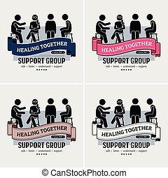 logotipo, apoio, centro, grupo, design.