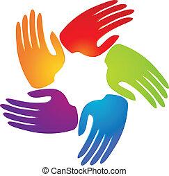 logotipo, app, flor, trabalho equipe, mãos