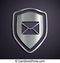 logotipo, appartamento, envelope., scudo, metallico
