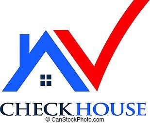 logotipo, aprovado, cheque, ilustração, casa