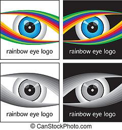 logotipo, arco íris, desenho, olho