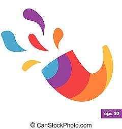 logotipo, arco íris, luminoso, shofar