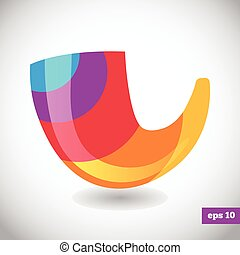 logotipo, arco íris, shofar