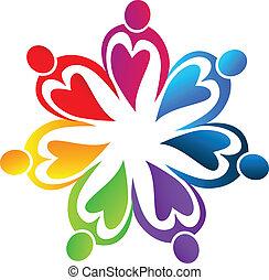 logotipo, arcobaleno, lavoro squadra, cuori