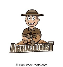 logotipo, arqueólogo, ilustración