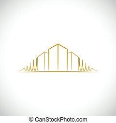 logotipo, arquitecto, amarillo