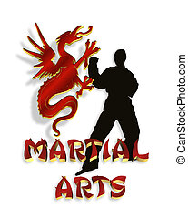 logotipo, artes marciais, gráfico, 3d