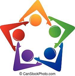 logotipo, associazione, lavoro squadra