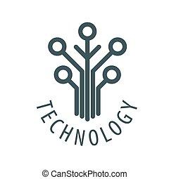 logotipo, astilla, vector, árbol, tecnología