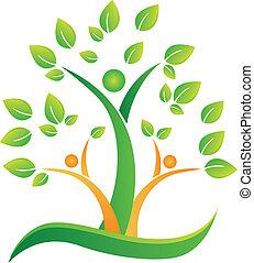 logotipo, astratto, albero, persone