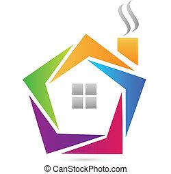 logotipo, astratto, casa