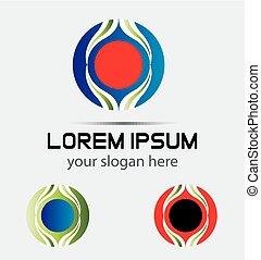 logotipo, astratto, cerchio, onda