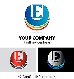 logotipo, astratto, e, lettera, icone