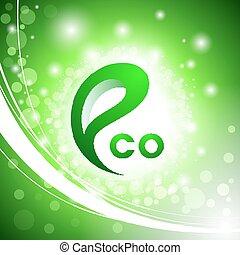 logotipo, astratto, ecologia, verde, fondo.