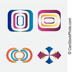 logotipo, astratto, elementi, set, sagoma
