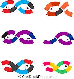 logotipo, astratto, fish