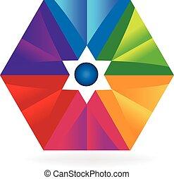 logotipo, astratto, geometrico, colorito