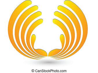 logotipo, astratto, mani