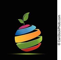 logotipo, astratto, mela
