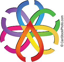 logotipo, astratto, mette foglie