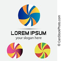 logotipo, astratto, palla, icona