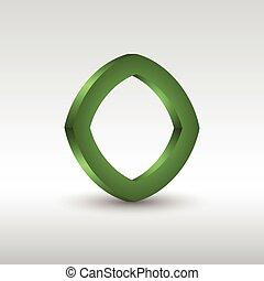 logotipo, astratto, quadrato, verde, 3d