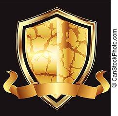 logotipo, astratto, scudo, oro