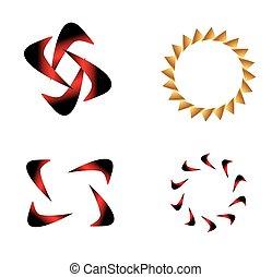 logotipo, astratto, set, sagoma