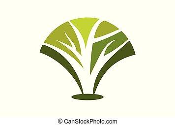 logotipo, astratto, vettore, albero, icona