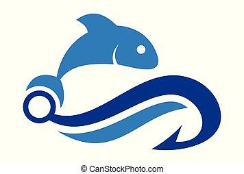 logotipo, astratto, vettore, pesca, icona