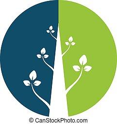 logotipo, astratto, vettore, pianta, design.