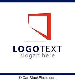 logotipo, astratto, vettore, quadrato, sagoma
