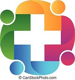 logotipo, atención sanitaria, trabajo en equipo